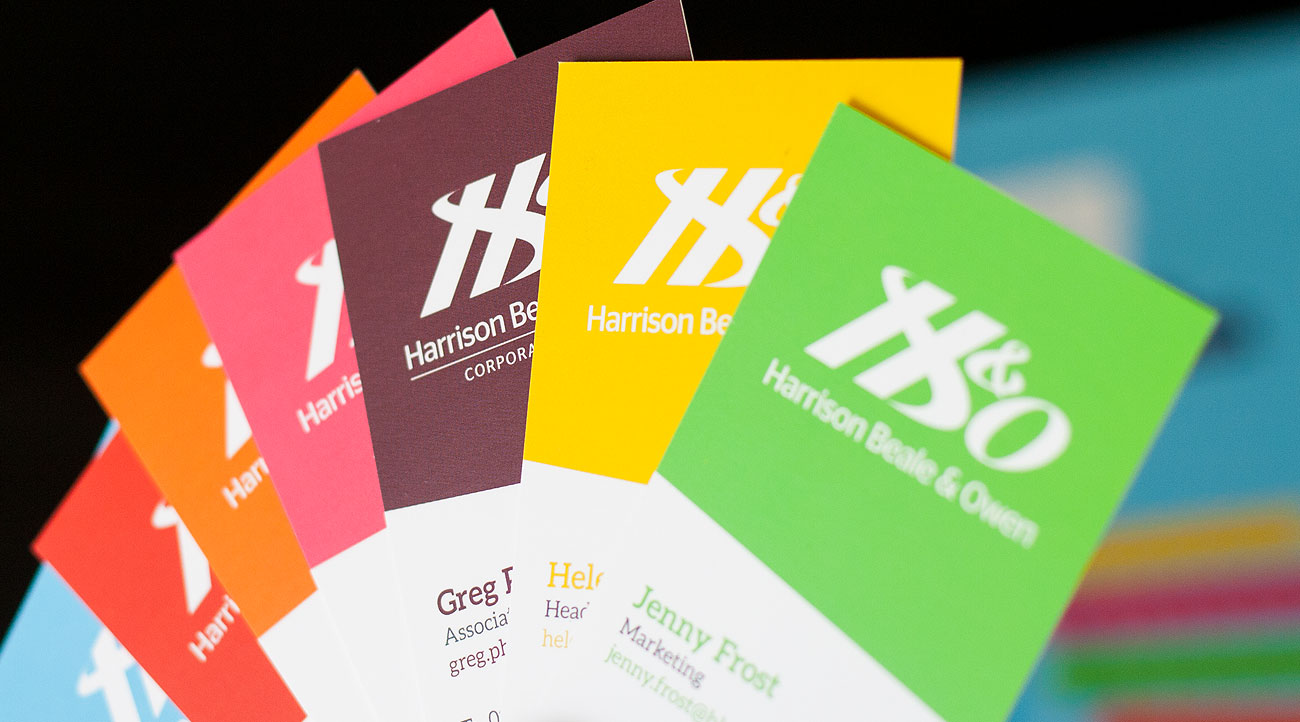Buisness Cards in an array of colours-printing by KMS Litho